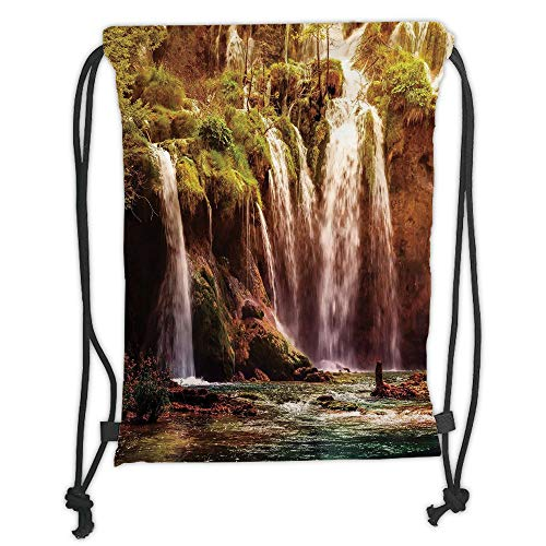 ZKHTO Drawstring Sack Backpacks Bags,Nature Decor,Waterfall Forest Tree Moss Lake Stones Rocks Wonder of The World Image,Green and Brown Soft Satin,5 Liter Capacity,Adjustable String Closure,