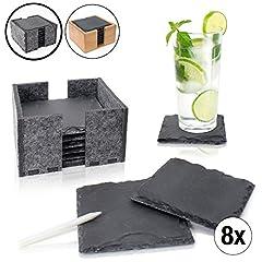 Idea Regalo - Amazy Sottobicchieri in ardesia (8 Pezzi) – Sottobicchieri decorativi in pietra lavica con inclusa una pratica scatola per contenerli in feltro