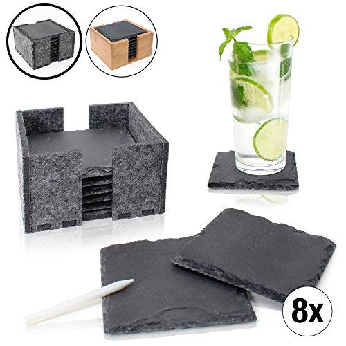 Amazy Schiefer Untersetzer Set (8 Stück) inkl. Kreidestift – Dekorative Glasuntersetzer aus 100% Natur Schieferplatten mit praktischem Halter aus Filz – Tolle Geschenkidee (eckig | 10x10 cm)