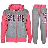 A2Z 4 Kids Survêtement pour filles Sweat à capuche et bas de jogging Impression Selfie Âge 78910111213ans, Grey & Neon Pink, 158 cm