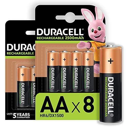 Oferta de Duracell - Pilas Recargables AA 2500 mAh, paquete de 8