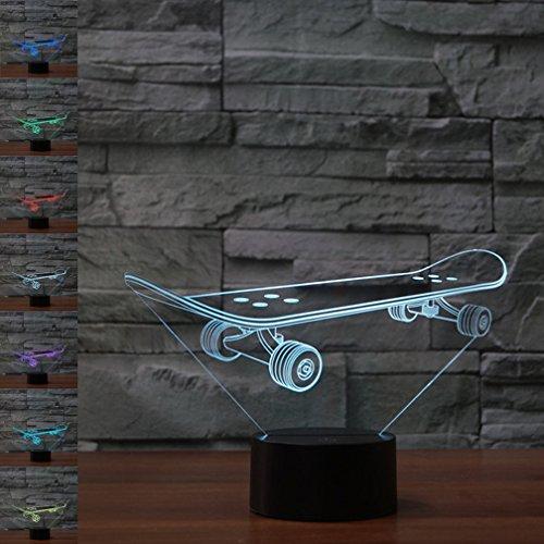 Skateboard 3D Lampe Optische Illusion Nachtlicht, 7 Farbwechsel Touch Tisch Schreibtisch Lampen mit Acryl Flach und ABS Basis & USB-Kabel für Awesome Geschenk