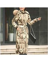 LA COUPE CINTREE Taille plus Extra Longue Manteau d'hiver Mince Doudoune camouflage S