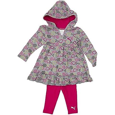Puma da bambina tunica tuta da jogging Outfit con cappuccio tunica top + Leggings pantaloni rosa grigio 92