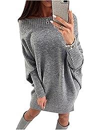 Minetom Donna Autunno Invernale Maglione Vestito Sexy Senza Spalline Maglieria Maniche Lunghe Maglione Mini Abito
