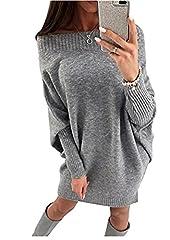 Idea Regalo - Minetom Vestito in Maglia Donna Sottile Vestitini Eleganti Maglioni Autunno Invernale Maniche Lunghe Fuori Spalla Abiti da Sera Cerimonia Cocktail Bodycon Dress Grigio IT 40
