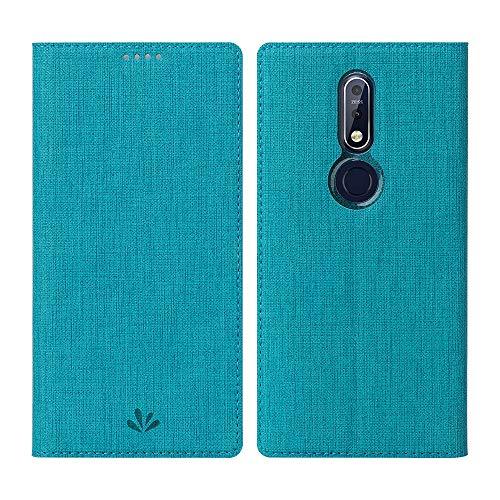 DDJ Nokia 7.1 Hülle,Leder Tasche Flip klappbares Case Cover Standfunktion Kartenfach Magnetverschluß Card Holder kristallklarer TPU Stoßstange Wallet Schutzhülle Handyhülle für Nokia 7.1 (Blau) Alle Nokia-flip-telefone