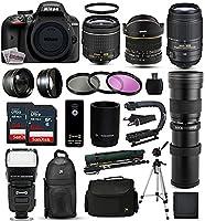 Nikon D3400 Digital SLR Camera + 18-55mm + 6.5mm Fisheye + 55-300mm + 420-1600mm Lens + Filters + 128GB Sandisk Memory + Action Stabilizer + i-TTL Autofocus Flash + Backpack + Case + 70