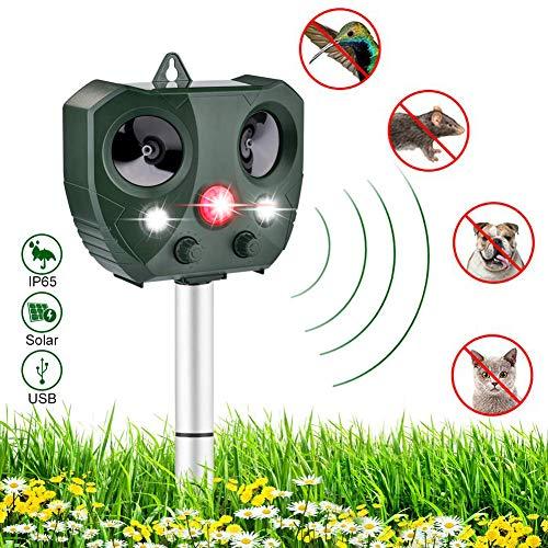 Sararoom Katzenschreck Ultraschall Solar, Hundeschreck Solar Tiervertreiber wasserdichte Utraschall Abwehr mit 5 Modus Einstellbar Katzen Schreck für Katzen, Hunde, Schädlinge, Rotwild