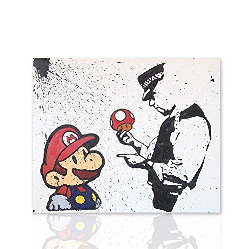 Marco para la decoración del dormitorio. Super Mario Bros con un bosquejo Negro Banksy Tributo - pintura sobre lienzo listas para colgar - Decoración para el diseño interior Colorscrazy