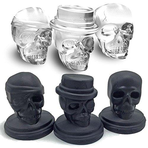 Kidac 3D Moldes Hielo Silicona Calavera Cráneo Bandeja Hielo Grande Sin BPA Grado de Comida (1 Juego de 3 Moldes de Silicona Skull Diferentes)