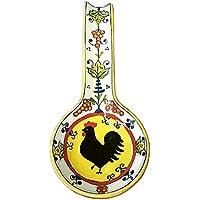 CERAMICHE D'ARTE PARRINI- Ceramica italiana artistica , posamestolo decorazione gallo , dipinto a mano , made in ITALY Toscana