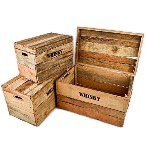 Kiste Whisky (Holzkisten 3er Set Whisky Motiv Vintage-Used Design Landhaus Kolonial braun)