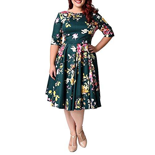 59787ad2d ZAFUL Mujer Vintage Vestido de Fiesta años 50 Impresión De Flores ...