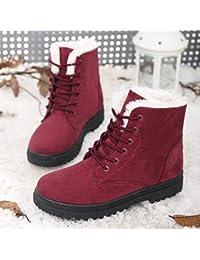 Shukun Stivaletti Stivali da Neve Invernali Stivali da Neve Invernali Scarpe  da Donna di Grandi Dimensioni in Cotone… 8dec40560f4