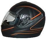 protectWEAR Motorradhelm, Integralhelm, Matt Schwarz/Oranges Muster, L