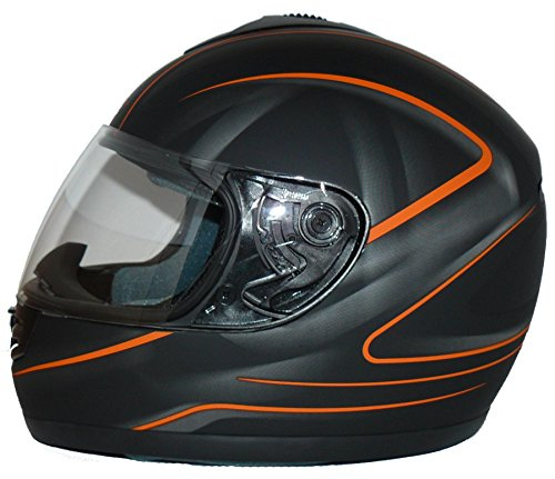 Protectwear Motorradhelm, Integralhelm, Matt Schwarz/Oranges Muster, XL