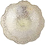"AVS STORE ® Brass Decorative Dry Fruit Bowl Carving Work - Size 7""Beautiful Silver Color Peacock Design Kitchenware Gift"