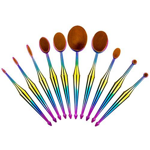 Homitt 10 pcs Pinceaux de maquillage professionnel, ovale Lot de Correcteur Brosse de Poudre de maquillage avec motif en forme de brosse à dents