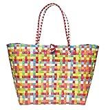 Jumbo Tasche Flechttasche Shoppper Strandtasche Umhängetasche Markttasche Einkaufstasche Beutel Schultertasche Big Bag Korbtasche Korb MULTI COLOUR