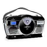 auna MCP-69 Poste radio vintage • Lecteur CD à chargement frontal compatible MP3 • Entrée USB pour de titres MP3 à partir d'une clef USB • Récepteur radio FM • Poignée integrée • Noir