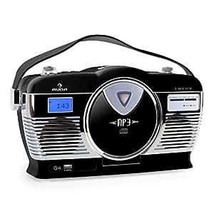 auna mcp 69 poste radio vintage lecteur cd et port usb pour mp3 poign e utilisation sur piles. Black Bedroom Furniture Sets. Home Design Ideas