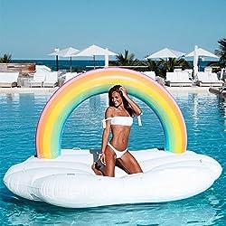 Ginkago Flotador Gigante Flotador Inflable de la Piscina arco Iris Flotante Piscina Juguetes 210*140*135cm