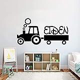 ganlanshu Tractor Infantil Sala de Estar Personalizada Etiqueta de la Pared Etiqueta Habitación de los niños Niña Niño Adolescente Personalizado Cualquier Nombre Etiqueta de Vinilo 102cmx52cm