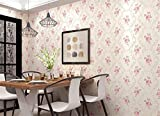 TIEZ 3D Stereo Vliestapete/Warm Romantische Rosa Blümchen/Schlafzimmer, Wohnzimmer, Hintergrund Wandtapete, 0.53 * 10m, Pink