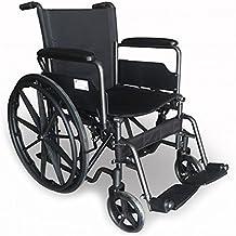 Modelo S220 | silla de ruedas de acero plegable con asiento de 43 cm | Ruedas robustas | Reposapiés y reposabrazos extraíbles | Con bolsillo trasero | Comodidad 100% | TOP VENTAS