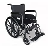 Sedia a rotelle pieghevole ad autospinta | braccioli e poggiapiedi mobili | Modello: S220 | Dimensioni seduta: 46 cm | Dimensioni prodotto chiuso: 30x62x92 cm| Altezza complessiva: 92 cm | Acciaio |
