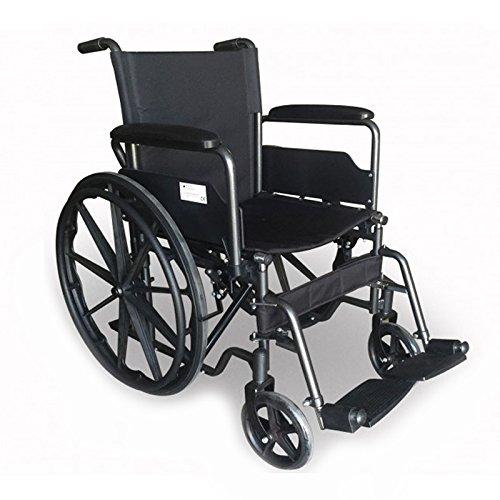 Rollstuhl aus Stahl Modell S220 Sevilla | 100% komfortabel | abnehmbare Fußstützen und Armlehnen | mit Gesäßtasche | robuste Räder | Breite des Sitzes: 40 cm -