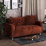 AFAHXX Dick Stretch Sofabezug für Sofa,Dekoration Gedruckt Samt Sofahusse sofaüberwurf Komplettpaket Volltonfarbe Sofa Abdeckung-braun 90-140cm(35-55in)