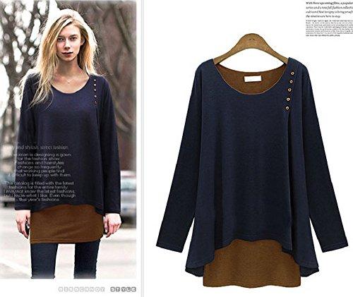Xizi übergroße lose Blusen-lange Batwing-Hülse T Shirt Marine-Blau L (Leggings Cherokee)