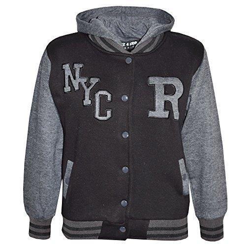 Preisvergleich Produktbild Kinder Mädchen Jungen R Mode NYC Baseball Jacke Mit Kapuze Uni Kapuzenpulli Alter 2-13 Jahre - Dunkelgrau, 11-12 Years