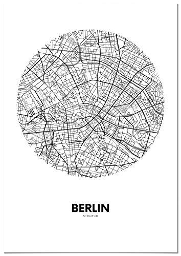 Panorama Póster Mapa Círculo Berlín 50 x 70 cm