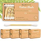 Alyn Bamboo Cotton Buds 4 Pack 800 Pieces |Wooden Ear Wax Swabs Organic Wool |Biodegradable |Eco Friendly Premium Cleaning Sticks |Plastic Free Packaging |Environmentally Clean Swab Stems|Free E-Book
