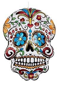 Smiffys 57075 - Calavera hinchable para colgar del Día de los Muertos, unisex, color blanco