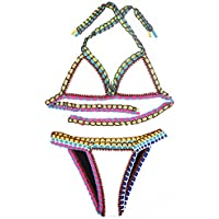 Nuovo uncinetto, da donna, colore: Bianco, con allacciatura dietro al collo bikini Swimwear Beachwear estate taglia UK 10–12EU 38–40