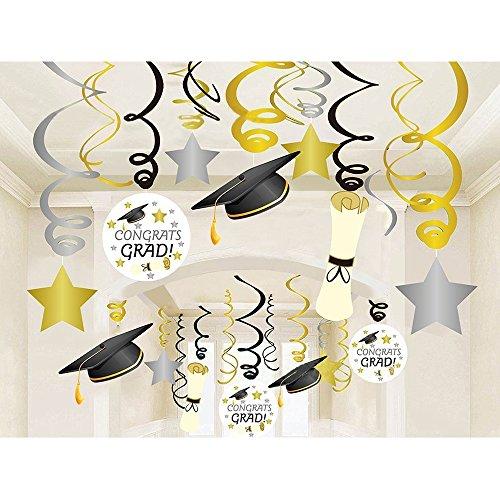 Geekbuzz Abschluss Folien Hängende Strudel-Dekorationen, 30pcs Gewundene Luftschlangen-Hauptschule Decken Dekorations Hängende Strudel-Partei liefert 2018 (Collage-foto-decken)