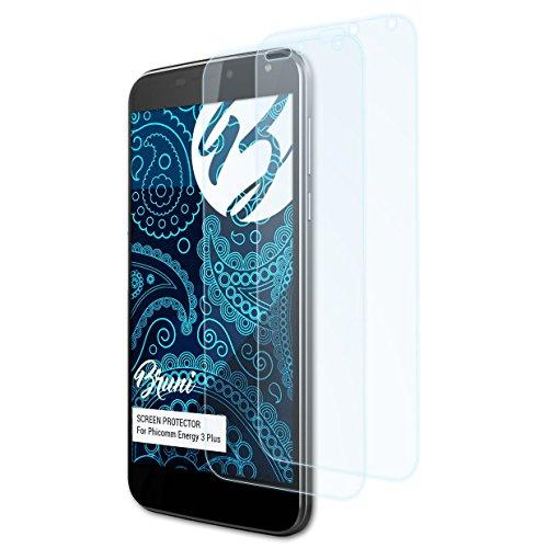 Bruni Schutzfolie für Phicomm Energy 3 Plus Folie, glasklare Bildschirmschutzfolie (2X)