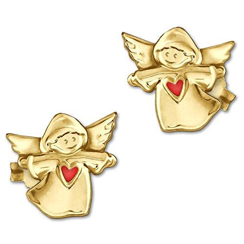CLEVER SCHMUCK Goldene kleine Mädchen Ohrringe als Ohrstecker Engel 7 mm mit Herz rot 333 Gold 8 Karat (Schmuck-klein Ohrring)
