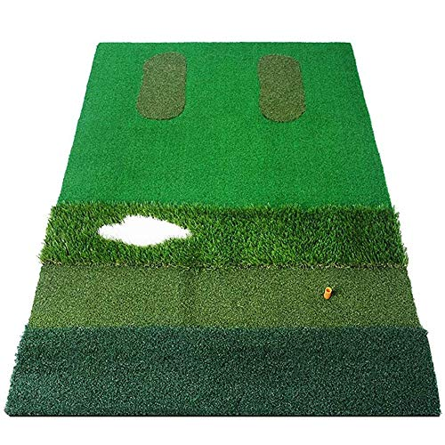 BEANFAN Golf Schlagen Mat Eisen und Holzpfählen Golf Gras Übungsmatte Tragbarer Trainingshilfen for Hinterhof Tragbare Golf Driving Range Mat (100 x 150 cm) -