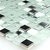 Glasmosaik Edelstahl Mosaik Fliesen Türkis Diamant