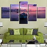 JZGDH Oggettistica per La Casa Stampa HD Tela Pittura 5 Pezzi Arte da Parete Mare Immagine Modulare Paesaggio Arte Soggiorno Paesaggio Poster R100X55 Cm