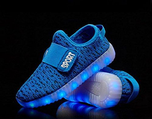 ACME LED Leuchtend Schuhe Sneaker Sportschuhe Turnschuhe mit USB Aufladen und 7 Farbe Farbwechsel für Kinder Jungen Mädchen Blau