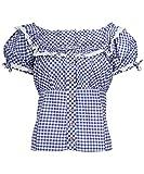 Tracht & Pracht - Damen Baumwolle - Trachtenbluse - Bluse Karo Blau - 40