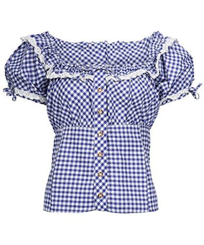 Tracht & Pracht - Damen Baumwolle - Trachtenbluse - Bluse Karo Blau - 34