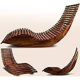 Chaise longue à bascule en bois - Transat ergonomique - Jardin/plage/terrasse - Bain de soleil - Relax