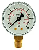 Mecafer 152163 - Manometro ø 50 mm, 1/8' (3,2 mm) m 1/4' (6,35 mm) m